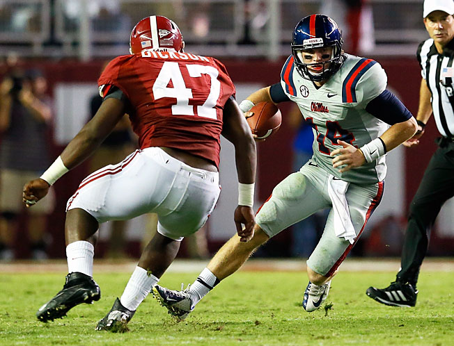 Do Bo Wallace (14) and Ole Miss have what it takes to defeat No. 1 Alabama in Tuscaloosa on Saturday?