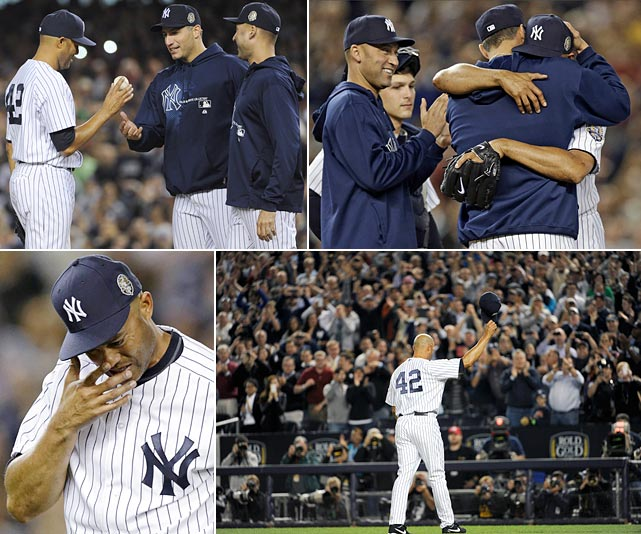 "After Rivera retired all four batters he faced, manager Joe Girardi delegated his pitching change to a pair of tenured veterans, Andy Pettitte and Derek Jeter, who walked out to retrieve Rivera for retirement. As they reached the mound, Rivera dissolved into tears on Pettitte's shoulder, where he stayed buried for half a minute, longtime teammates who quite literally grew up together through the ranks of the Yankees organization. Rivera then spent time on Jeter's shoulder before the Captain told him, ""Time to go."" Matt Daley mopped up the inning's final out, and after the Yankees went in order in the bottom half of the inning, the game was over and so too was Rivera's career in pinstripes. Eventually Rivera returned to the mound and used his cleats to loosen the ground for a keepsake."