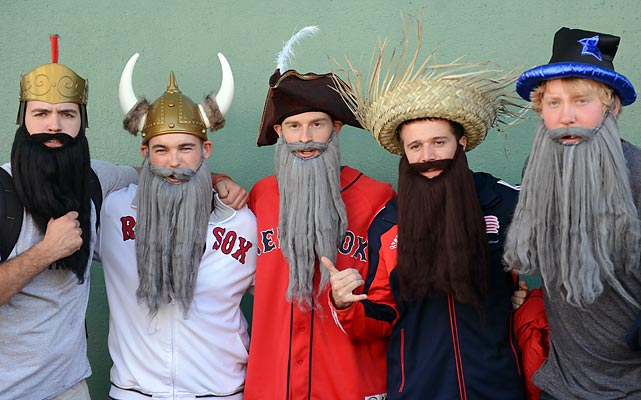 Looking like refugees from the National Beard & Moustache Championships, fans sporting real or fake beards (awful hard to tell which is which here) were admitted to Fenway Park for the low, low discount price of one crinkled and slightly moist George Washington. (Note: This promotion is not to be confused with the legendary 10-Cent Beer Night from which the good city of Cleveland still hasn't recovered.)