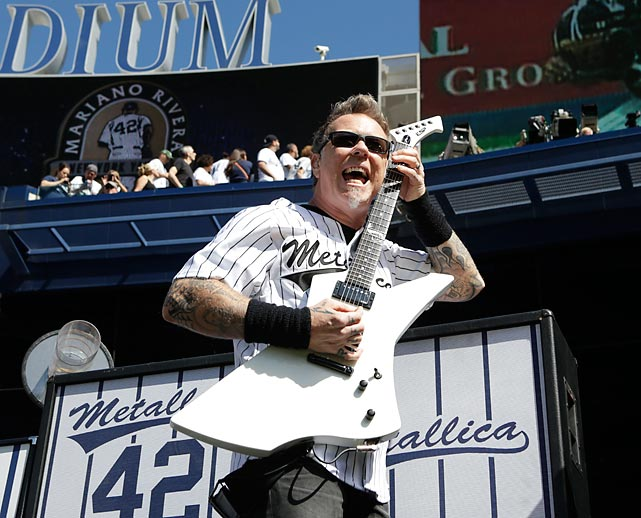 Exit Sandman: Metal's main singer/axeman was on hand to lend his dulcet tones to Mariano Rivera's retirement ceremony at Yankee Stadium. Metallica tunes that could serve as a soundtrack to the Bronx Bombers' season: <italics>Creeping Death</italics>, <italics>For Whom the Bell Tolls</italics>, <italics>Sad But True</italics>, and <italics>Fade to Black</italics>.