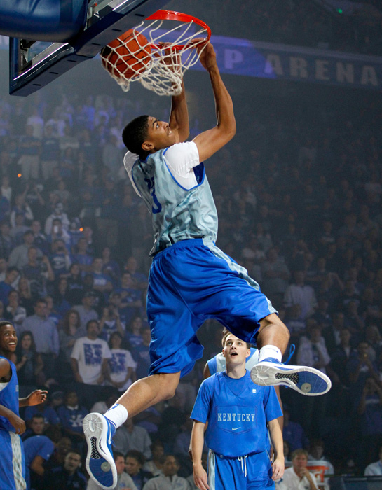 Kentucky's Anthony Davis dunks during the 2011 Big Blue Madness in Lexington.