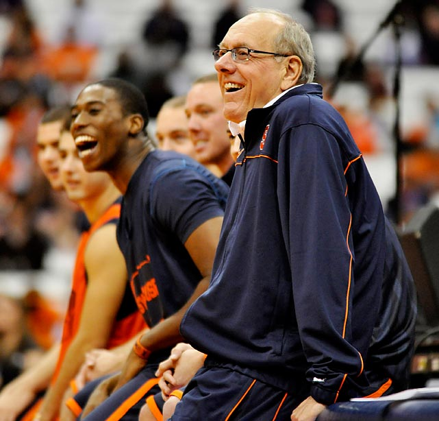 Syracuse head coach Jim Boeheim enjoys Midnight Madness in the Carrier Dome in 2010.
