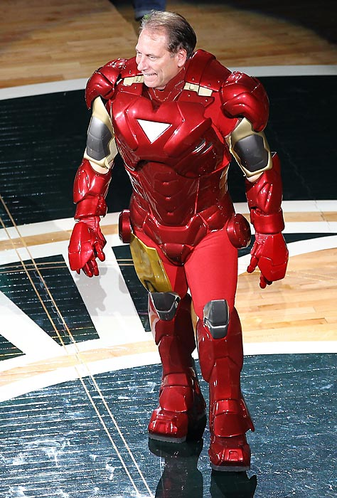 Michigan State's head coach comes out as 'Iron Man' during midnight madness at the Breslin Center in 2012.