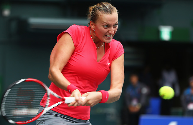 Petra Kvitova overcame a dreadful second set to prevail in the Pan Pacific Open final.