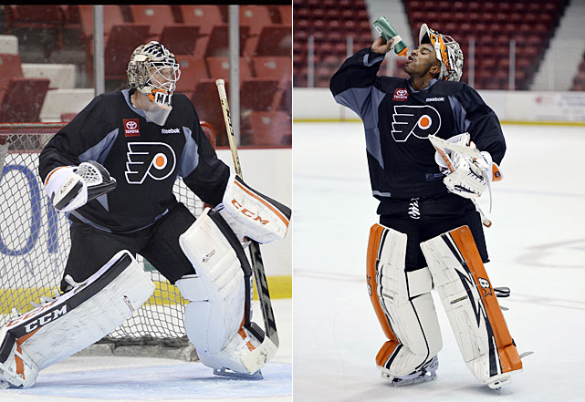 With the Ilya Bryzgalov experiment over, the Flyers' ongoing quest for a cornerstone goaltender continues. Now its Steve Mason's and Ray Emery's turn. Mason, acquired at the trade deadline is a former Calder Trophy winner as top rookie in 2008-09 with Columbus. He hopes to regain the form that saw him rise to stardom as a rookie in Columbus before struggling during the past few seasons. Emery is a solid safety net, having posted a 17-1-0 record as the No.2 with the Stanley Cup-winning Blackhawks.