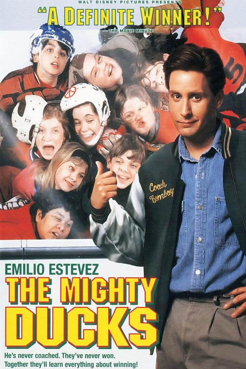 The 1992 classic film features Emilio Estevez as Gordon Bombay, who takes over the lowly District 5 hockey team and transforms them into peewee champs. Disney, which owned the real-life NHL team, continued the series for two live-action sequels and an animated version, in which the human players were replaced in favor of crime fighting, hockey playing ducks.