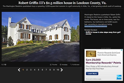 Washington's star QB bought this Aldie, Va., mansion shortly after his wedding in 2013.