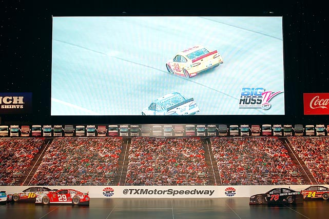 <bold>Dimensions: 218 x 94.6 feet</bold> <bold>Size: 20,633 square-feet</bold> Texas Motor Speedway is planning to have the world's largest highest-definition sports video board in place before the NASCAR Sprint Cup race there next spring. Pictured is a replica model. While there will no doubt be even larger video boards in the years to come, here are the largest video screens currently in the world of sports.