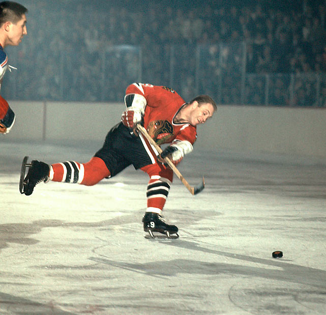 The Chicago Blackhawks' Bobby Hull shoots the puck against the New York Rangers, circa 1966.