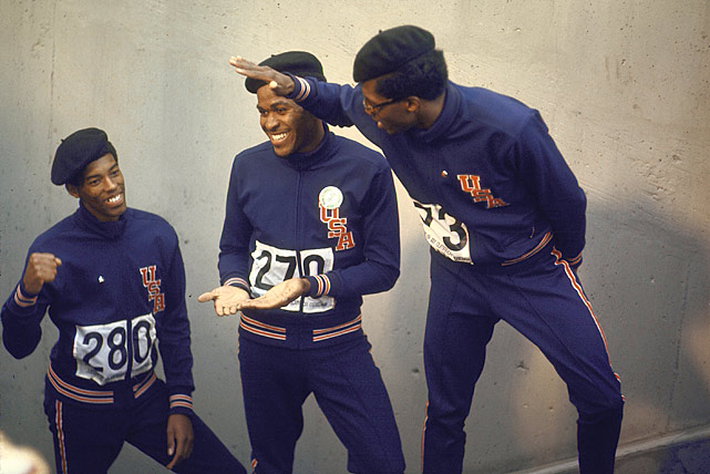 (Left to right) Larry James, Lee Evans and Ronald Freeman celebrate after their victory in the 400-meter race at the 1968 Summer Olympics in Mexico City.
