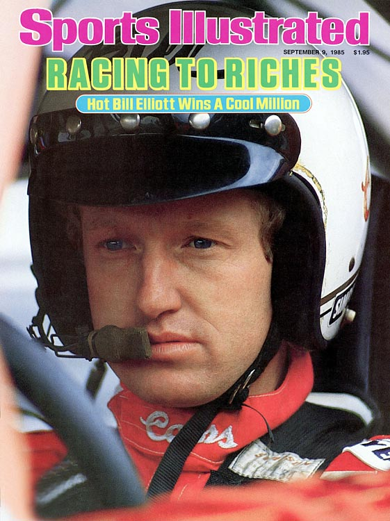 NASCAR driver Bill Elliott appears on the cover of <italics>Sports Illustrated </italics>in 1985.