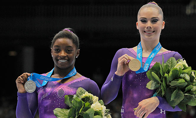 McKayla Maroney (right) defeated all-around champion Simone Biles in the vault.