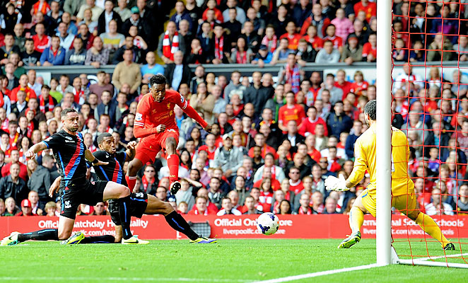Daniel Sturridge followed Luis Suarez's opening goal to double Liverpool's advantage in the first half.