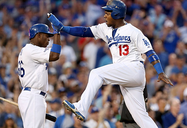 Hanley Ramirez (right) has been on fire in the NLDS, hitting .538 and helping Los Angeles take a 2-games-to-1 lead.