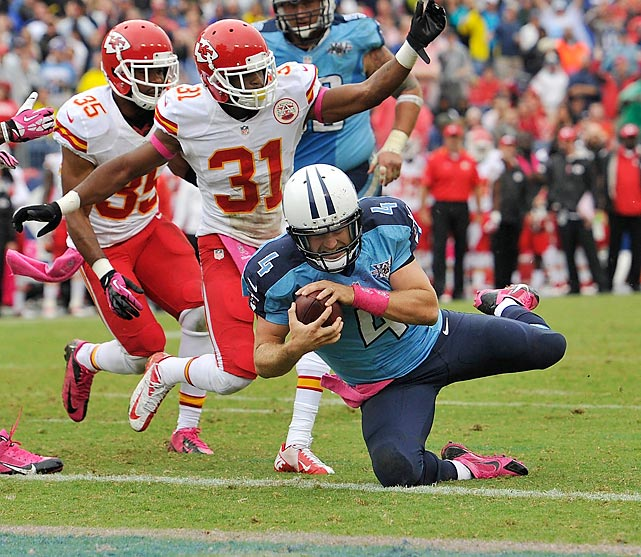 Making his first start for the Tennessee Titans, Ryan Fitzpatrick completed this nine-yard scramble by diving into the end zone for a touchdown.