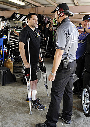 Tony Stewart has said that being laid up and sidelined has really made him miss racing.