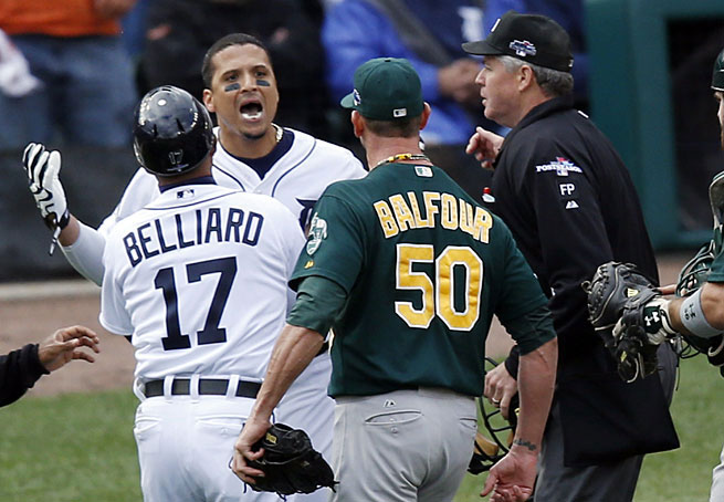 Victor Martinez's shouting match against Grant Balfour was the closest the Tigers came to showing some fight in the ninth inning.