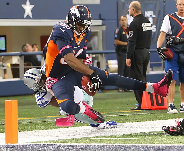 The Broncos tight end barreled through the Cowboys' defense for two touchdowns on Sunday, including this one.
