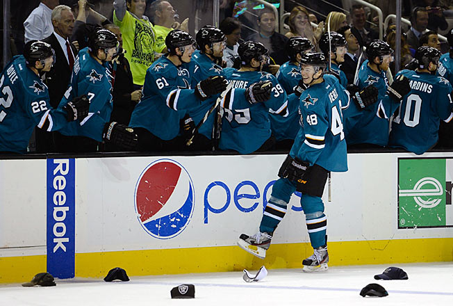 Rookie Tomas Hertl hung a four-goal hat on the Rangers as the Sharks capped an unbeaten week.