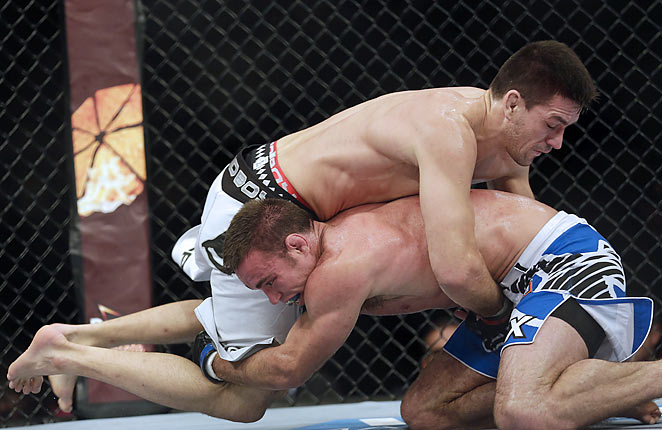 Jake Shields (bottom) and Demian Maia's mat-based fight didn't please the fans in Brazil.