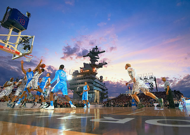 North Carolina and Michigan State played in front of a stunning backdrop aboard the <italics>USS Carl Vinson </italics>aircraft carrier on Nov. 11, 2011. North Carolina won, 67-55, in the unique game in front of 8,111 fans and President Barack Obama. A 2012 matchup between Georgetown and Florida aboard the <italics>USS Bataan</italics> in Jacksonville was cancelled due to weather, and in 2013, the concept was scrapped entirely because of logistical difficulties.