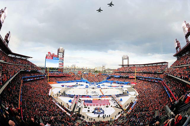 The Rangers took on the Flyers in the NHL Winter Classic at Citizens Bank Park on Jan. 2, 2012. The Rangers topped the Flyers 3-2 in front of 46,967 fans thanks to a Henrik Lundqvist save on a penalty shot with a minute remaining.