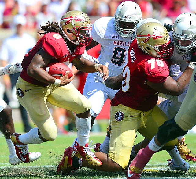Florida State running back Devonta Freeman carries the ball against Maryland.