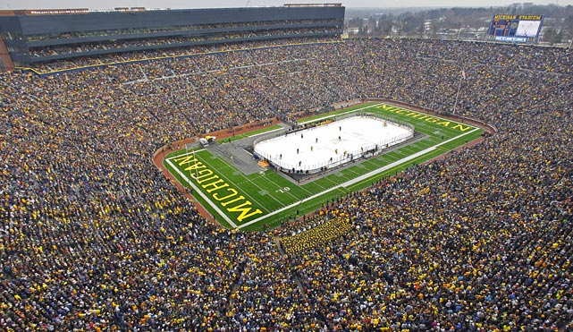 """The Big Chill at the Big House,"" a rematch of the ""Cold War"" outdoor game between Michgan and Michigan State, set a world hockey record with an announced attendance of 113,411 at Michigan Stadium on Dec. 11, 2010. The Wolverines shut out the Spartans 5-0."