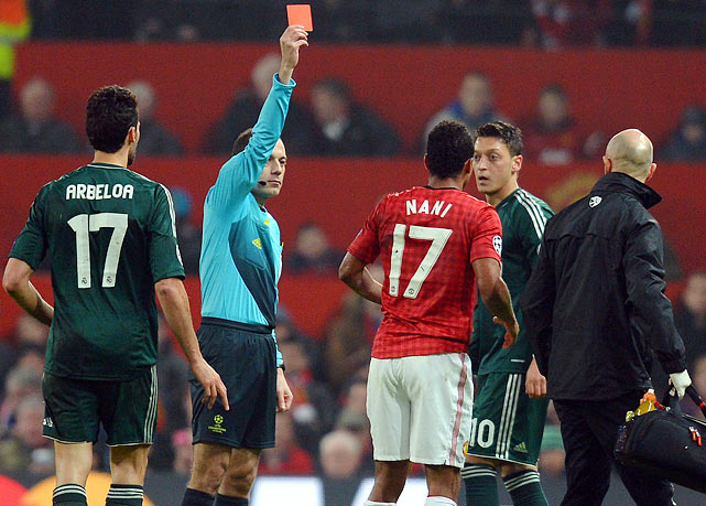 An 18-year-old fan from Nottinghamshire, England, was so upset over the red card issued to Manchester United winger Nani in a Champions League match with Real Madrid that he called local police during the game to report a crime. (United, reduced to 10 men, lost 2-1 and was eliminated.)