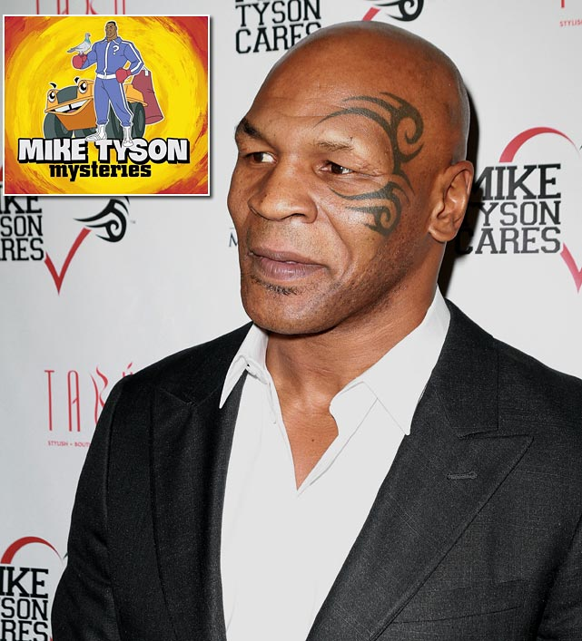 "The Adult Swim network is producing an animated comedy series, <italics>Mike Tyson Mysteries</italics>, in which a cartoon version of the former heavyweight champ, ""armed with a magical tattoo on his face"" and aided by a talking pigeon, will solve various baffling cases."