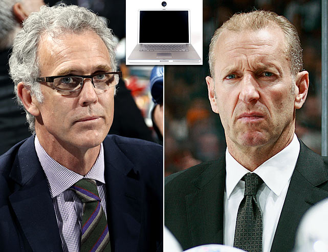 Oilers general manager Craig MacTavish (left) fired coach Ralph Krueger over Skype.
