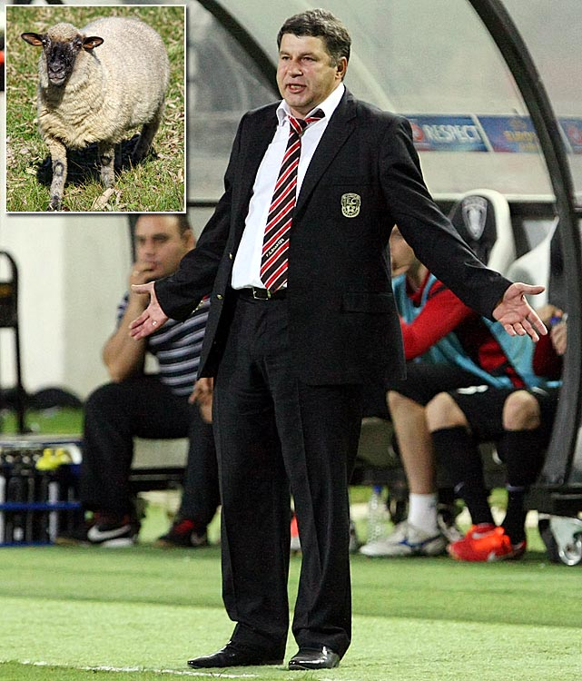 The coach of Kazakh side Shakhter Karagandy sacrificed a sheep before the team's 2-0 Champions League win over Celtic.
