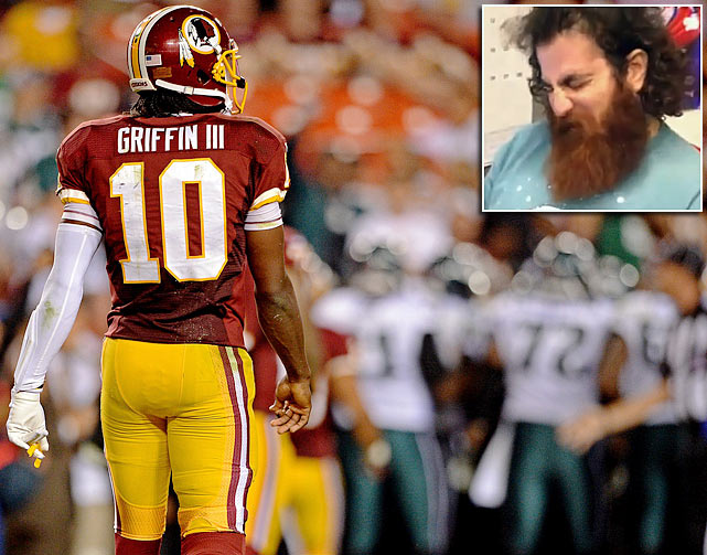 Jason Pickar, a comedian and devout Redskins fan, lost a bet on the team's Week 1 game against the Eagles and had to eat part of his beard.