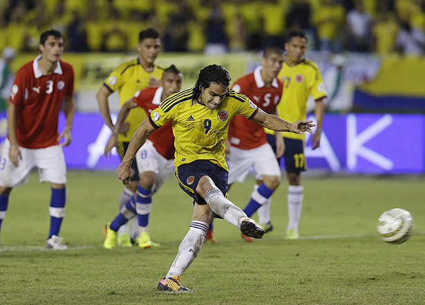 Radamel Falcao sent Colombia's fans into hysterics with this penalty conversion against Chile. The goal capped a wild three-goal comeback and gave Colombia a 3-3 draw against Chile for its first World Cup berth since 1998.