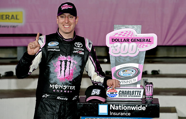Kyle Busch posted his 11th Nationwide series win Friday night and his second at Charlotte this year.