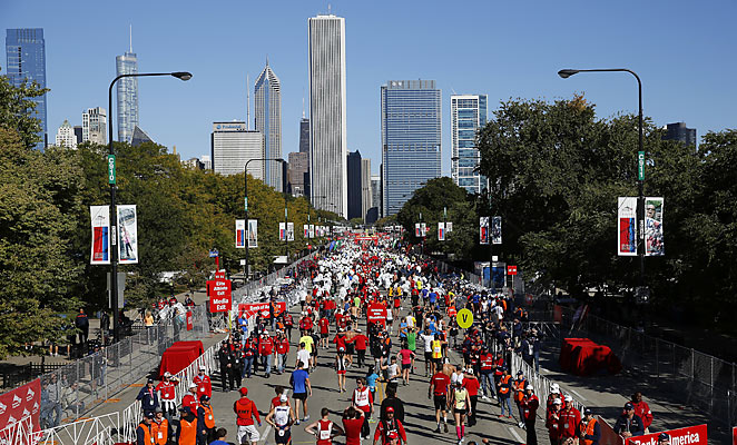 The Chicago Marathon proceeded with increased police presence compared to previous years.