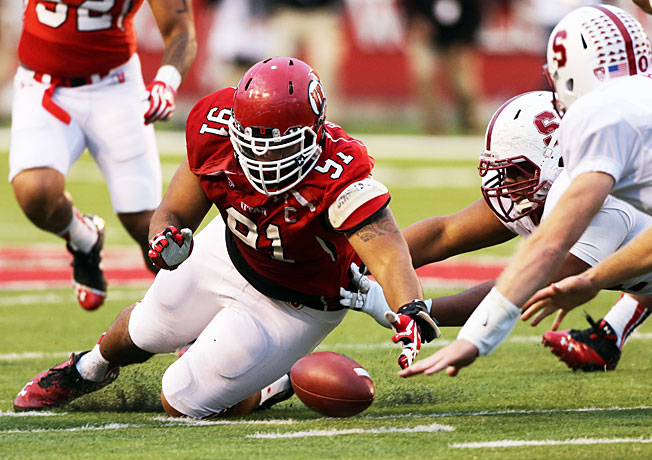 Tenny Palepoi (91) and Utah's defense forced two turnovers in a surprising upset victory over Stanford.