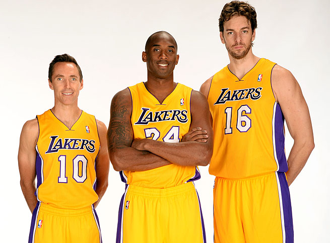 Steve Nash (left) and Pau Gasol (right) will be asked to carry the Lakers until Kobe Bryant returns.
