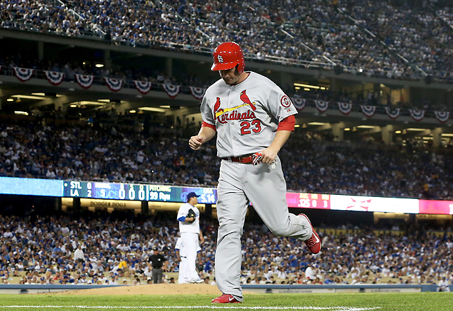 David Freese was replaced by Daniel Descalso in the fifth inning on Monday night.