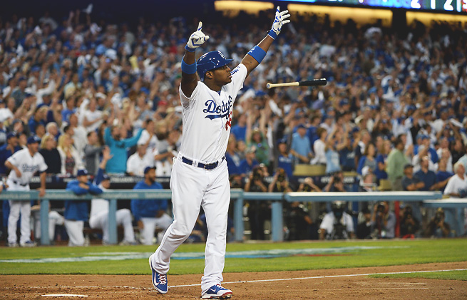 Yasiel Puig broke out of his slump with a thrilling triple that anchored the Dodgers' Game 3 win.