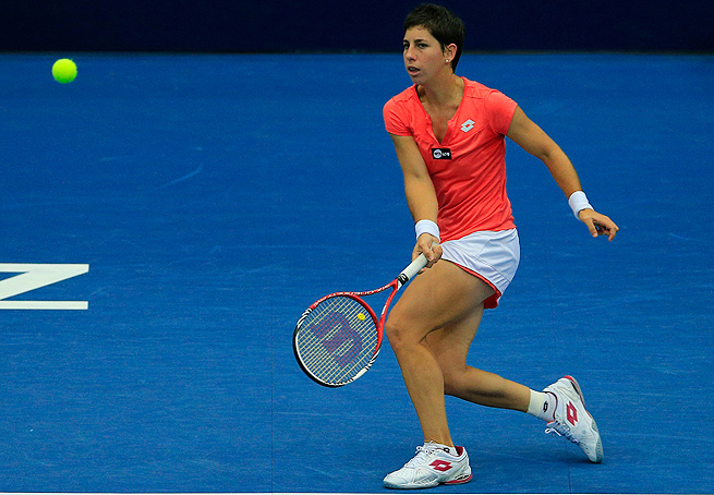 Carla Suarez Navarro reached the second round of the Kremlin Cup after defeating Vera Dushevina.