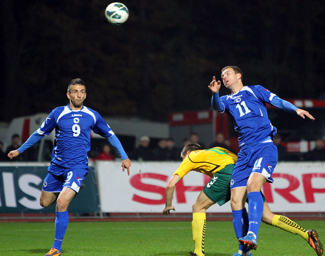 Bosnia-Herzegovina made history Tuesday, qualifying for its first World Cup in its fifth attempt as an independent nation. The Bosnians, who haven't advanced to a European Championship either, defeated Lithuania, 1-0, on a late goal from Vedad Ibi?evi? (left). The VfB Stuttgart forward is already well known in St. Louis, where he lived as a child and played college soccer for the Billikens. He'll now be immortal in Bosnia thanks to his 68th-minute finish in Kaunas.