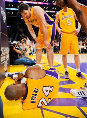 Kobe Bryant tore his Achilles tendon in a game against the Warriors on April 12.