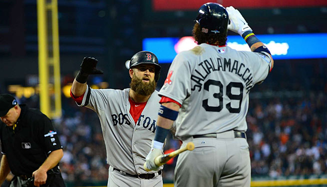 Boston's Mike Napoli (left) hit a seventh-inning home run to account for the only run of the game.