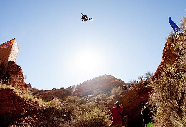 Graham Agassiz competes in the qualifying round of the Red Bull Rampage, an invitational-only freeride mountain bike competition in Virgin, Utah.