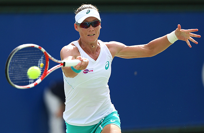 Sam Stosur easily defeated Kaia Kanepi 6-3, 6-1 and will face Alize Cornet next in Moscow.