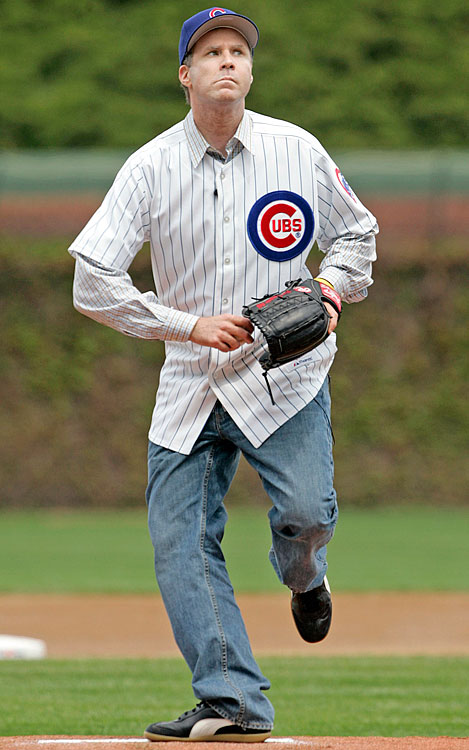 Will Ferrell prepares to throw out the first pitch for the Chicago Cubs game against the Philadelphia Phillies on May 7, 2005 at Wrigley Field in Chicago.