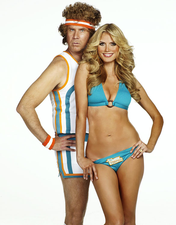 Will Ferrell, dressed as Jackie Moon, poses with Heidi Klum, dressed as a Flint Tropics cheerleader, during an SI Swimsuit photo shoot on Nov. 28, 2007 at Smashbox Studio in Los Angeles.