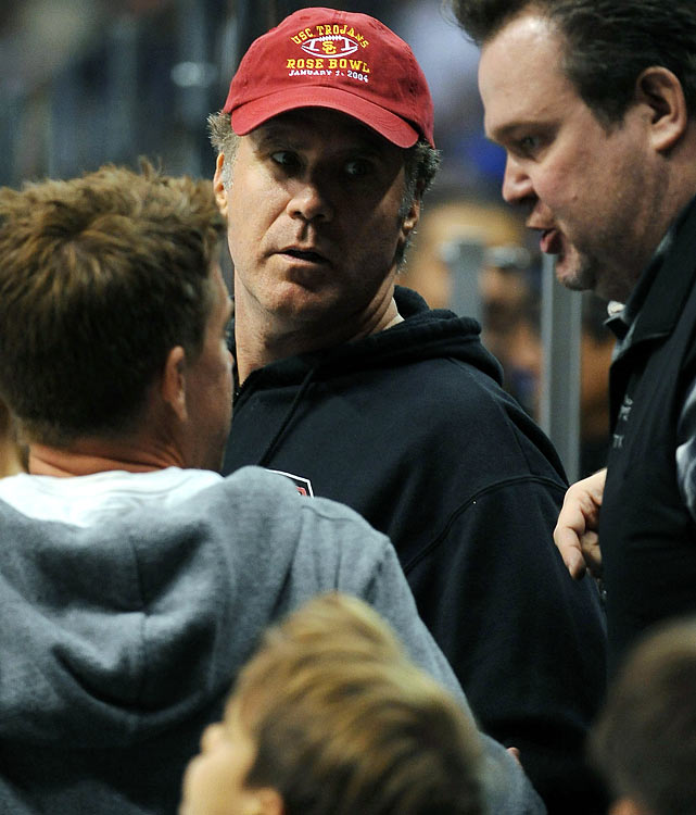 Will Ferrell and Eric Stonestreet attend Game Three of the Western Conference Quarterfinals between the Los Angeles Kings and Vancouver Canucks on April 15, 2012 at Staples Center in Los Angeles.