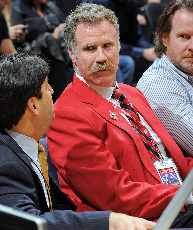 Will Ferrell, dressed as a security guard, attends the Los Angeles Lakers game against the Phoenix Suns on Feb. 12, 2013 at Staples Center in Los Angeles.